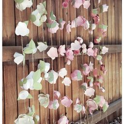 Party Garland. Paper Flower Garland. blush garland. Wedding Garland. photo backdrop. cake smash b... | Etsy (US)