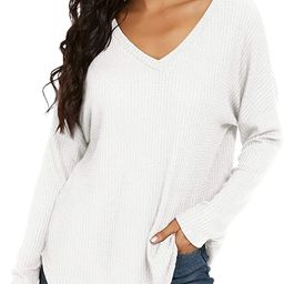IWOLLENCE Women's Waffle Knit Casual Tunic V Neck Off Shoulder Shirt Batwing Sleeve Loose Pullove... | Amazon (US)