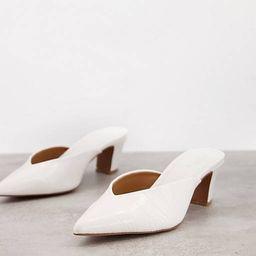 ASOS DESIGN Siena mid heeled mules in white | ASOS (Global)