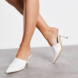 London Rebel pointed heeled mules in white | ASOS (Global)