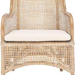 Safavieh Home Collection Charlie Grey Wash Rattan Cushion Accent Chair, Dark Natural/White | Amazon (US)