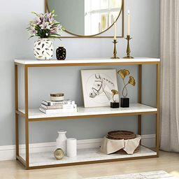 Tribesigns 3-Tier Console Table, Gold Sofa Entry Table with Faux Marble Top and Gold Metal Frame ... | Amazon (US)