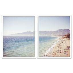 Vintage Malibu Beach Photography Prints, Set of 2, Unframed, Coastal Wall Decor, Nautical Decor, ... | Amazon (US)