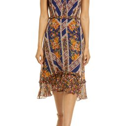 Floral Scarf Print Ruffle Detail A-Line Dress | Nordstrom