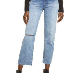 Baxter Super High Waist Ripped Raw Hem Straight Leg Jeans | Nordstrom