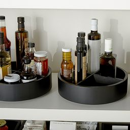 The Home Edit by iDesign Onyx Divided Lazy Susan | The Container Store