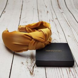 KNOTTED SATIN HEADBAND, Women Classic Headband, Yellow Mustard Headband, Stylish Hairband, Wide H... | Etsy (US)