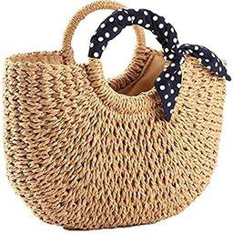 YXILEE Summer Beach bag,Handmade Large Straw Tote Bag Womens Handbag | Amazon (US)