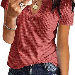 WNEEDU Womens Waffle Knit Tunic Tops V-Neck Short Sleeve Blouse shirts   Amazon (US)