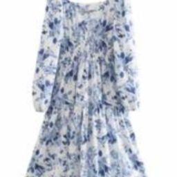 'Emily' Square Neck Blue & White Floral Midi Dress   Goodnight Macaroon