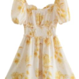 'Calliope' Floral Tied Ruched Waist Mini Dress   Goodnight Macaroon