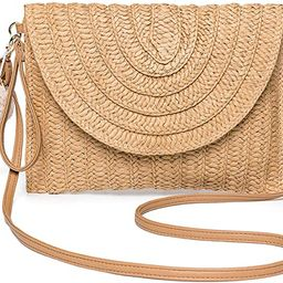 Straw Shoulder Bag, Kadell Straw Clutch Women Handmade Straw Bag Summer Beach Envelope Purse Wall... | Amazon (US)
