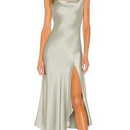 Harmony Asymmetrical Midi Dress in Sage   Revolve Clothing (Global)