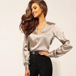 Women's Solid Color V-neck Shirts Long Sleeve Satin Blouses Tops   Walmart (US)