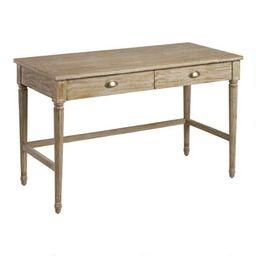 Distressed Oak Wood Paige Desk with Drawers   World Market