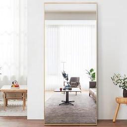 71 in. x 24 in. Modern Rectangle Shape Metal Framed Gold Standing Mirror Full Length Floor Mirror...   The Home Depot