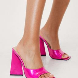Patent Faux Leather Open Toe Heeled Mules | NastyGal