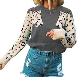 Angashion Women's Sweaters Casual Leopard Printed Patchwork Long Sleeves Knitted Pullover Cropped... | Amazon (US)