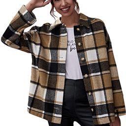 WDIRARA Women's Zip Front Plaid Print Long Sleeve Stand Collar Casual Jacket   Amazon (US)