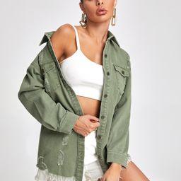 Flap Pocket Ripped Raw Hem Denim Jacket | SHEIN