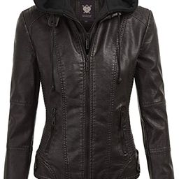 Lock and Love Women's Removable Hooded Faux Leather Moto Biker Jacket (XS~2XL) | Amazon (US)