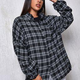 Drop Shoulder Patch Pocket Plaid Oversized Longline Blouse | SHEIN