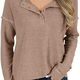 PRETTODAY Women's Long Sleeve Waffle Knit Henley Tops Thermal Button Up Tunics Round Neck Pullove... | Amazon (US)