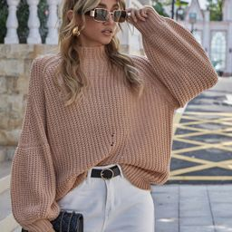 Raglan Sleeve Chunky Knit Oversize Sweater | SHEIN