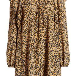 Pierce Leopard Print Long Sleeve Mock Neck Minidress | Nordstrom