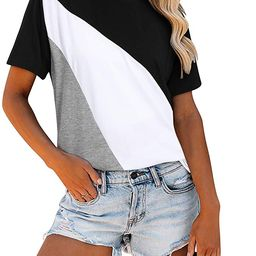 KILIG Women's Short Sleeve Casual T-Shirts Round Neck Triple Color Block Patchwork Loose Fits Tun... | Amazon (US)