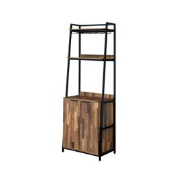"""74"""" Moniave Bookcase with Wine Glass Rack Oak/Black - HOMES: Inside + Out 