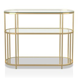 Invergarry Mirrored and Tempered Glass Sofa Table Gold - miBasics | Target