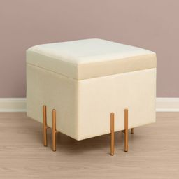 Fabulaxe Square Velvet Storage Ottoman with Gold Legs | Target