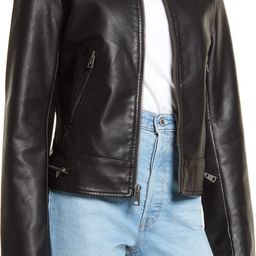 Women's Water Resistant Faux Leather Racer Jacket | Nordstrom