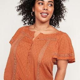 Oversized Clip-Dot Crochet-Lace No-Peek Plus-Size Blouse   Old Navy (US)