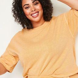 Oversized Garment-Dyed Cali-Fleece Plus-Size Elbow-Sleeve Sweatshirt   Old Navy (US)
