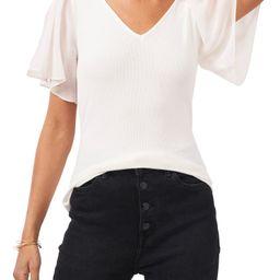 Flutter Sleeve Rib Knit T-Shirt | Nordstrom