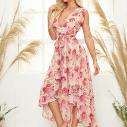 SHEIN Surplice Neck Belted Asymmetrical Hem Floral Dress | SHEIN