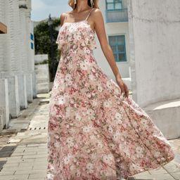 Allover Floral Print Ruffle Trim Maxi Cami Dress | SHEIN