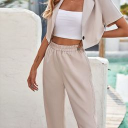 Single Button Lapel Collar Crop Blouse & Pants Without Cami Top   SHEIN