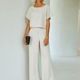 Solid Button Top & Wide Leg Pants   SHEIN