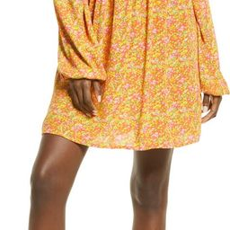 V-Neck Long Sleeve Babydoll Minidress | Nordstrom | Nordstrom