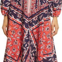Scarf Print Handkerchief Hem Long Sleeve Shirtdress | Nordstrom | Nordstrom