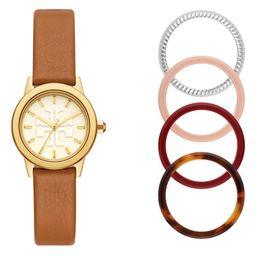 Gigi Leather Watch & Top Rings Set, 28mm | Nordstrom | Nordstrom