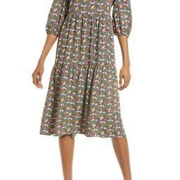 Floral Tie Back Midi Dress | Nordstrom