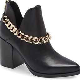 Womens Cut Out Ankle Boots Gold Chain Chunky Heel Back Zipper Almond Toe Western Booties   Amazon (US)
