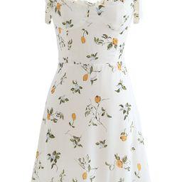 Cutie Lemon Branch Printed Tie-Strap Mini Dress | Chicwish