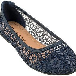 CLOVERLY Women's Ballet Shoe Floral Breathable Crochet Lace Ballet Flats | Amazon (US)