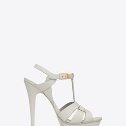 Tribute Platform Sandals In Smooth Leather White 11 | Saint Laurent