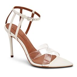BCBGMAXAZRIA Women's Sandals CLEAR/ - Off White Cage-Strap Daryl Leather Sandal - Women | Zulily